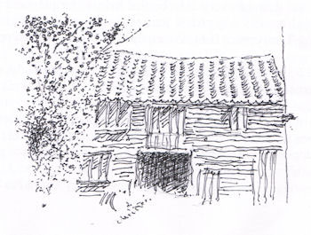 Line drawing of Barn behind Nunn's yard the entrance running by Clematis Cottage