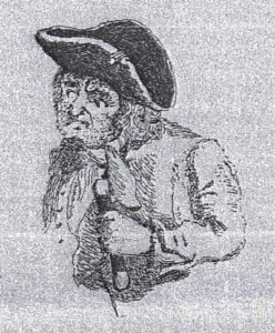 A black and white old photograph of an ugly old man in a cocked hat and clutching a stave.