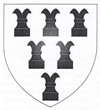 A black and white drawing of a shield with six symbols in black all of which resemble a chess piece, most closely, although not exactly, the 'castle'.