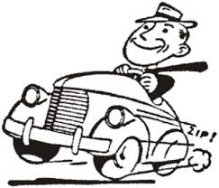 line drawing of man driving a vintage american car, tie blowing in wind
