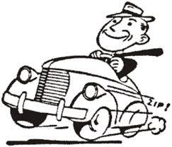 line drawing of man driving a vintage american car, tie blowing in wind