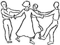 line drawing of four people dancing in circle holding hands