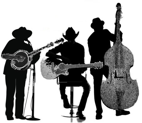 black and white graphic of three musicians two standing with banjo and double bass, one sitting with guitar