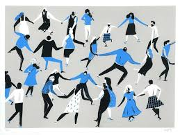 graphic image of dancers en masse, illustrated in white black and blue