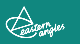Eastern Angles logo, blue, green canvas with white lettering and triangular logo with curved line from bottom right of triangle, anti-clockwise to form a lower case e around and under the word eastern