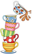 graphic of a pile of cups one in the other, all of different colours and patterns, the top cup tipping to spill tea