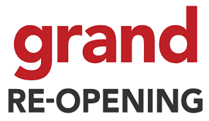 red and black text banner, grand re-opening