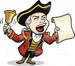 stylised cartoon character of a town crier with bell and notice in hand