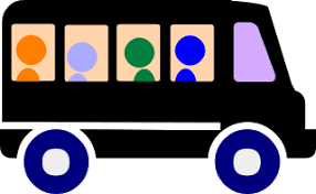 Block graphic of a minibus with passengers