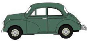 Graphic of classic green Morris Minor car