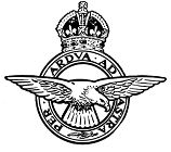 Black and White Line Drawing of RAF badge