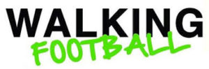 Walking football banner black type and stylised green text