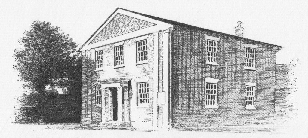 Fine black and white line drawing of Walsham Congregational church
