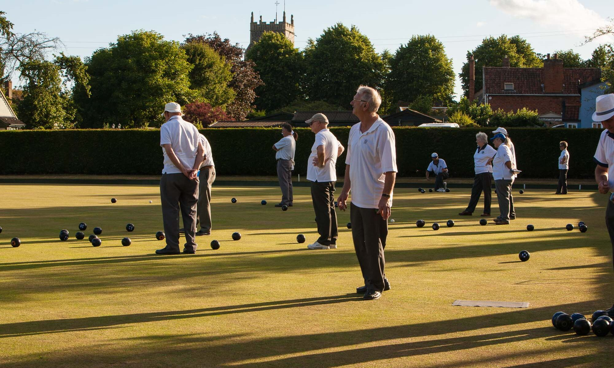 Walsham le Willows bowling club on a summer evening