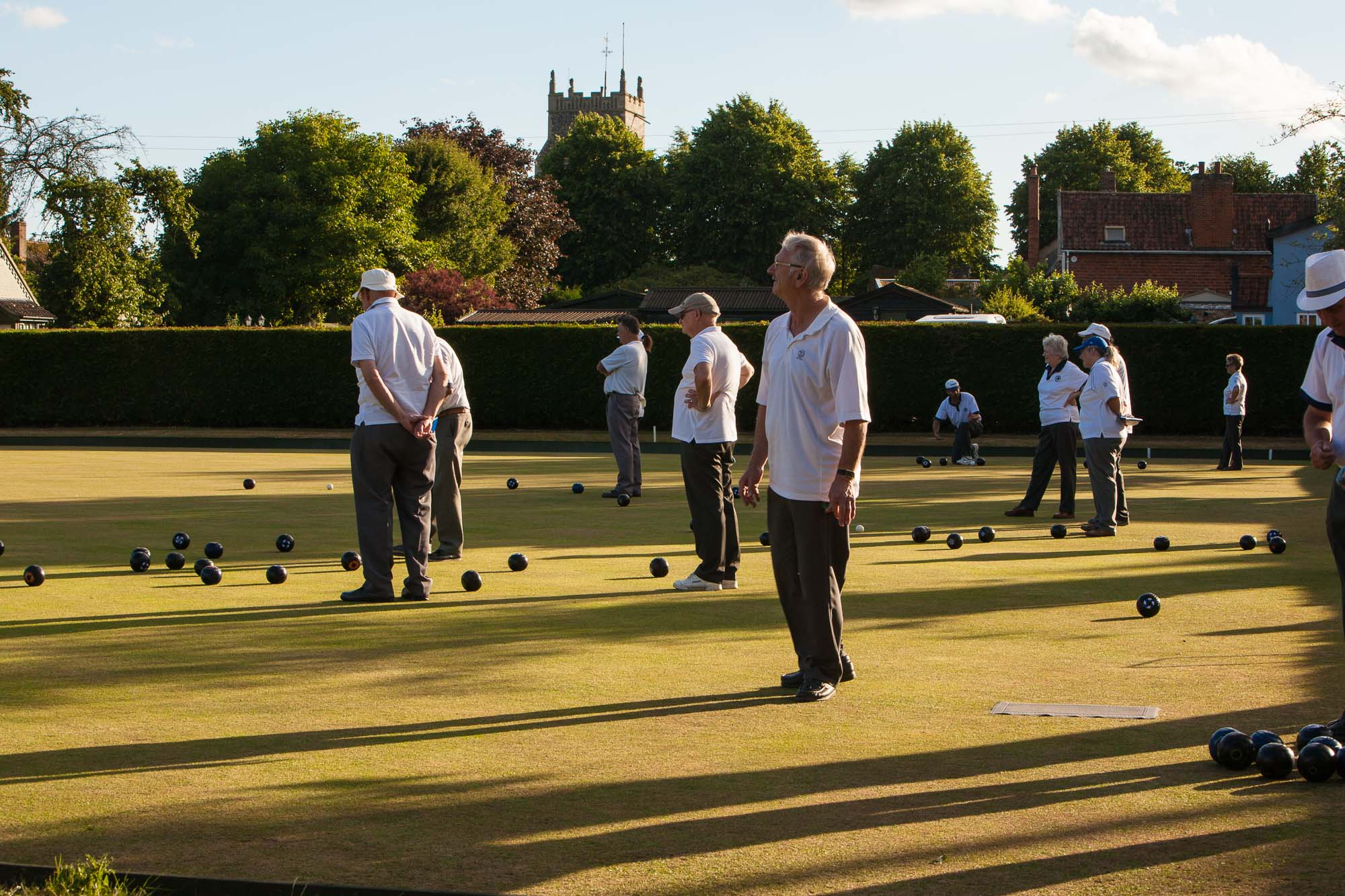 Walsham le Willows Bowls Club on a summer evening