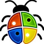 line drawing of bug with microsoft flag colours on wings