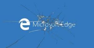 microsoft edge screen overlain with smashed glass