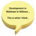 "walsham le willows post it note in shape of a question mark with text, ""This is what I think"""