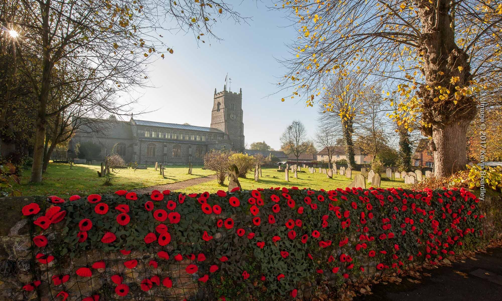 St Mary's Walsham le Willows, church wall adorned with poppies for Armistace Day