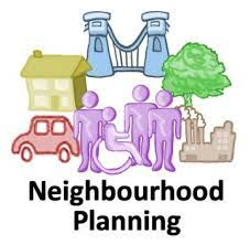 Neighbourhood planning logo with drawn images of a tree, a house, a bridge, a car, a workplace and people, all in different colours