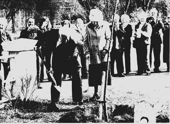 Betty Jordan and Jimmy Kenny planting the Willow tree to commemorate the Queens Diamond Jubilee in 2012