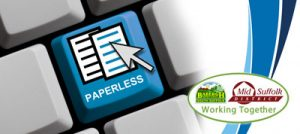 keyboard with 'paperless' key and Babergh and Mid Suffolk council logo