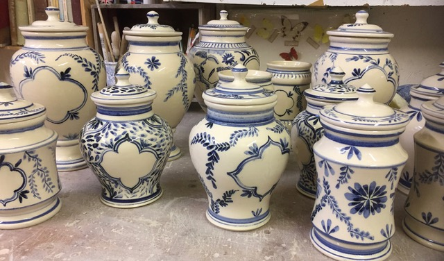 blue and white earthenware pots with lids, made by Rob Wheeler