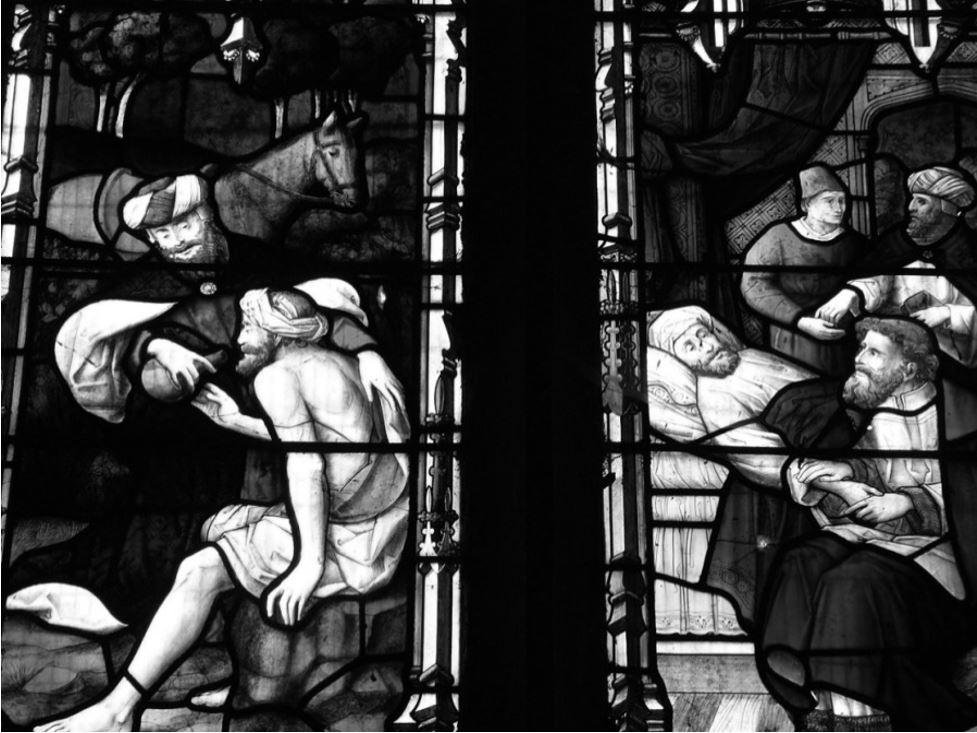The Good Samaritan, West Window, St Mary's Church, Walsham Le Willows (detail)